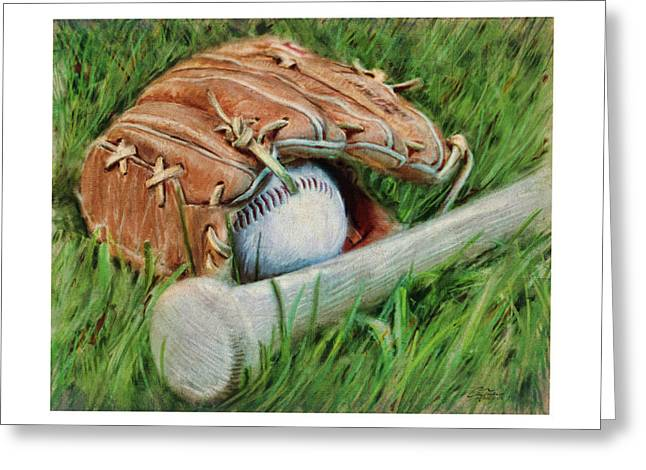 Baseball Glove Bat and Ball Greeting Card by Craig Tinder