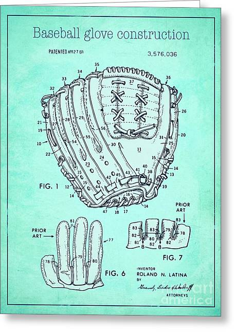 Baseball Glove Drawings Greeting Cards - Baseball glove construction patent blue - US 3576036 A Greeting Card by Evgeni Nedelchev