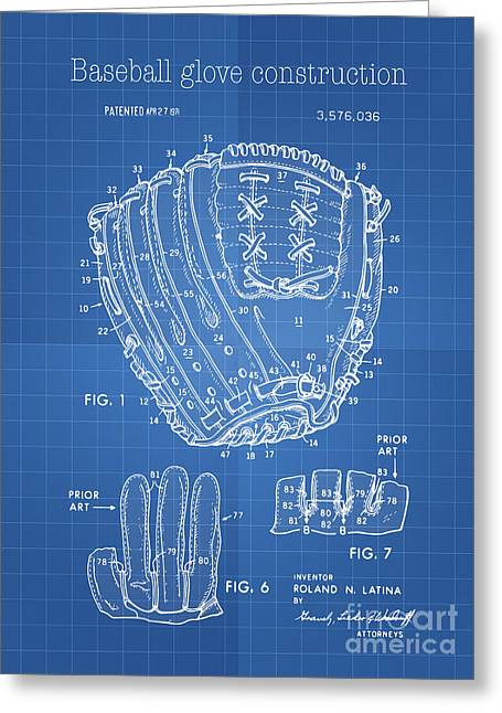 Baseball Glove Drawings Greeting Cards - Baseball glove construction patent blueprint - US 3576036 A Greeting Card by Evgeni Nedelchev