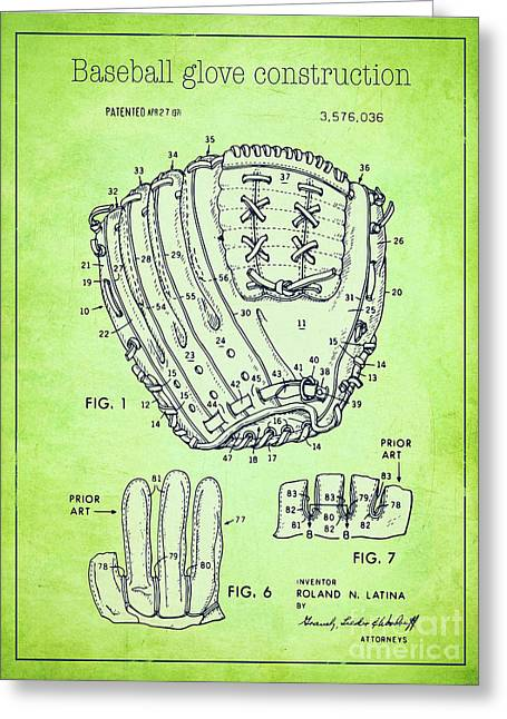 Baseball Glove Drawings Greeting Cards - Baseball glove construction patent green - US 3576036 A Greeting Card by Evgeni Nedelchev