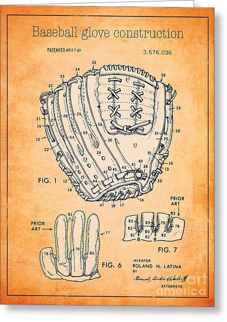 Baseball Glove Drawings Greeting Cards - Baseball glove construction patent orange - US 3576036 A Greeting Card by Evgeni Nedelchev