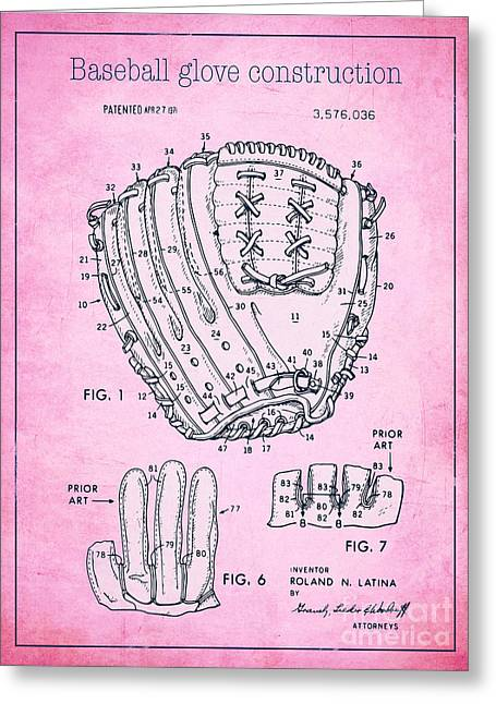 Baseball Glove Drawings Greeting Cards - Baseball glove construction patent pink - US 3576036 A Greeting Card by Evgeni Nedelchev