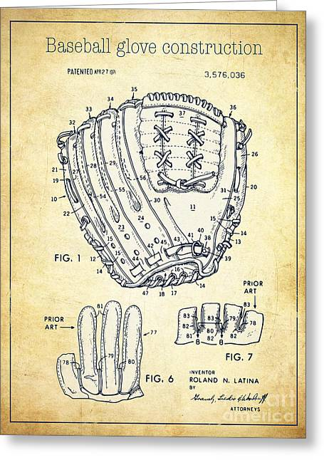 Baseball Glove Greeting Cards - Baseball glove construction patent vintage - US 3576036 A Greeting Card by Evgeni Nedelchev