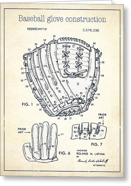 Baseball Glove Drawings Greeting Cards - Baseball glove construction patent white - US 3576036 A Greeting Card by Evgeni Nedelchev