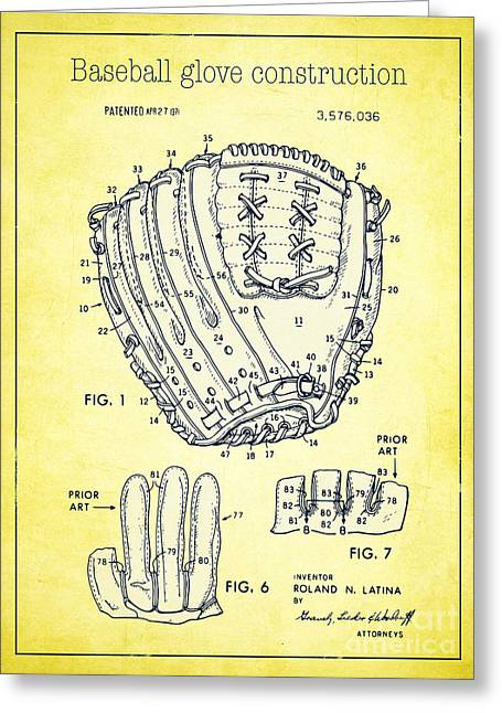 Baseball Glove Drawings Greeting Cards - Baseball glove construction patent yellow - US 3576036 A Greeting Card by Evgeni Nedelchev