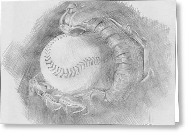 Leather Glove Drawings Greeting Cards - Baseball Glove Greeting Card by Michele Engling