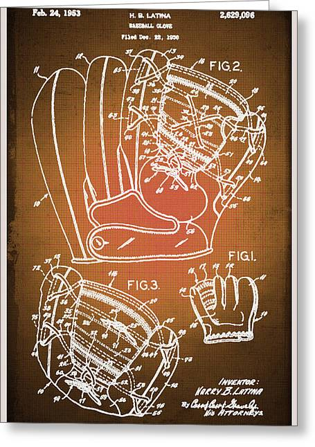 Baseball Field Mixed Media Greeting Cards - Baseball Glove Patent Blueprint Drawing Sepia Greeting Card by Tony Rubino