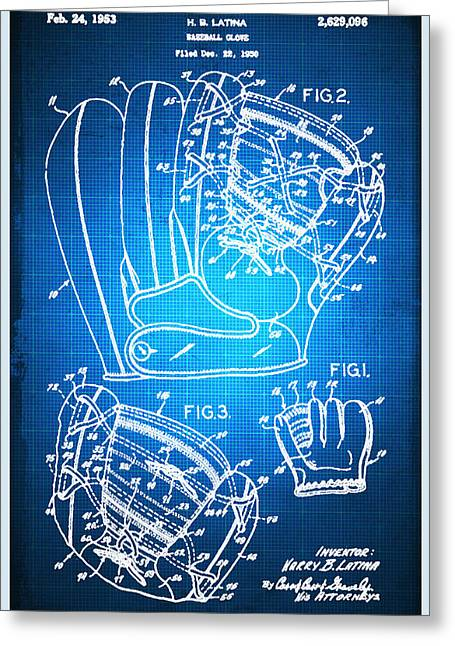Baseball Art Print Greeting Cards - Baseball Glove Patent Blueprint Drawing Greeting Card by Tony Rubino