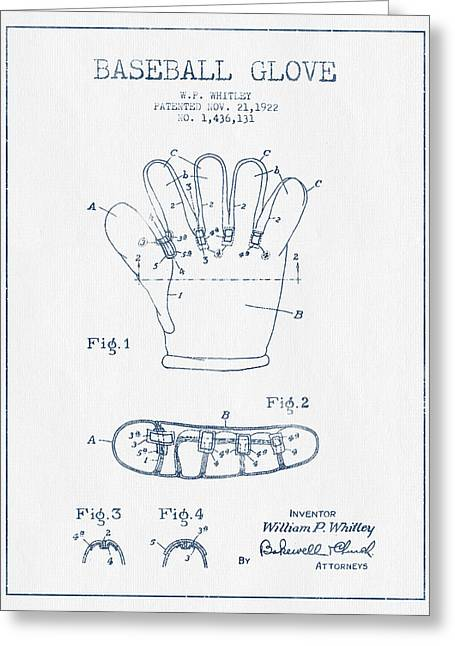 Baseball Glove Greeting Cards - Baseball Glove Patent Drawing From 1922 - Blue Ink Greeting Card by Aged Pixel