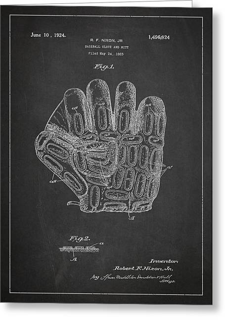 Softball Digital Art Greeting Cards - Baseball Glove Patent Drawing From 1923 Greeting Card by Aged Pixel