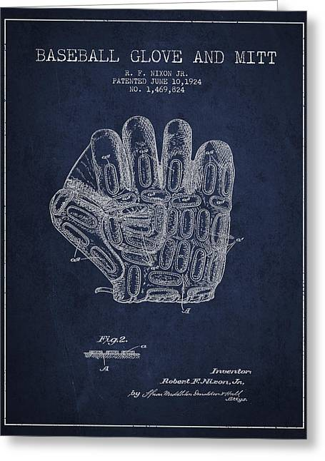 Softball Digital Art Greeting Cards - Baseball Glove Patent Drawing From 1924 Greeting Card by Aged Pixel