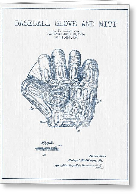 Baseball Glove Greeting Cards - Baseball Glove Patent Drawing From 1924 - Blue Ink Greeting Card by Aged Pixel