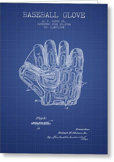 Baseball Glove Greeting Cards - Baseball Glove Patent From 1924 - Blueprint Greeting Card by Aged Pixel