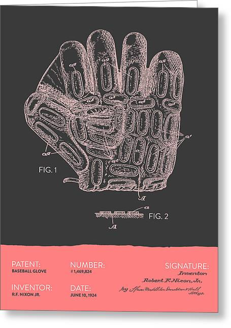 Baseball Glove Greeting Cards - Baseball Glove Patent From 1924 - Gray Salmon Greeting Card by Aged Pixel