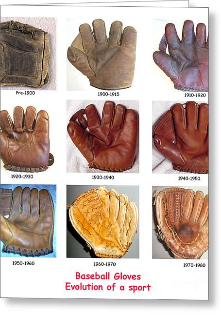 Baseball Glove Greeting Cards - Baseball Glove Evolution Greeting Card by David Bearden