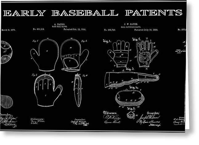 Baseball Equipment Greeting Cards - Baseball History 2 Patent Art Greeting Card by Daniel Hagerman