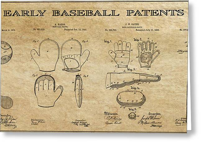 Baseball Equipment Greeting Cards - Baseball History 3 Patent Art Greeting Card by Daniel Hagerman