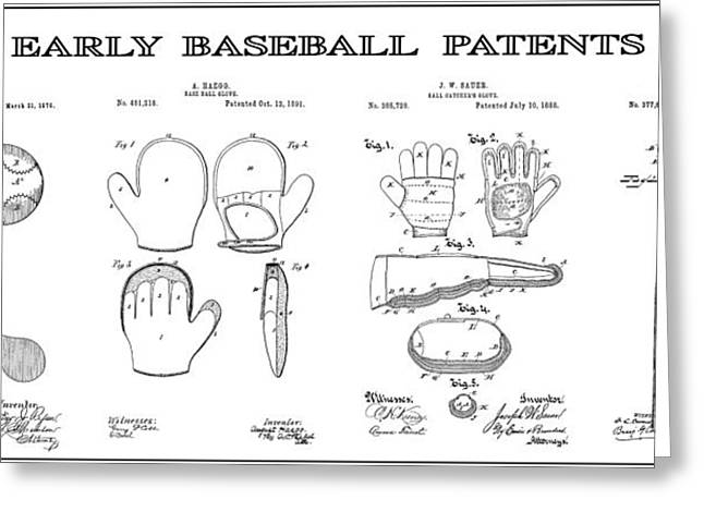 Baseball Equipment Greeting Cards - Baseball History Patent Art Greeting Card by Daniel Hagerman