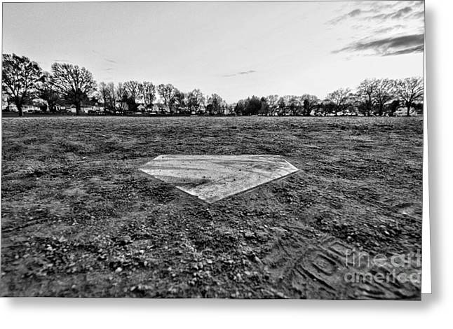 Ballgame Greeting Cards - Baseball - Home Plate - Black and White Greeting Card by Paul Ward