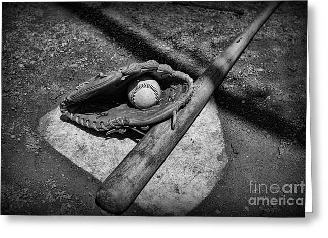 Baseball Bat Greeting Cards - Baseball Home Plate in black and white Greeting Card by Paul Ward