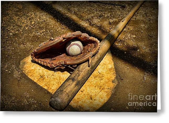 Baseball Bat Greeting Cards - Baseball Home Plate Greeting Card by Paul Ward