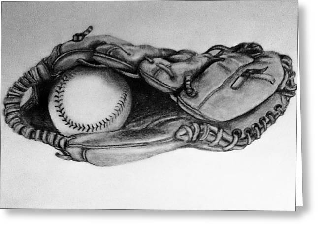 Baseball Glove Drawings Greeting Cards - Baseball in Glove Greeting Card by Cecilia Cooper