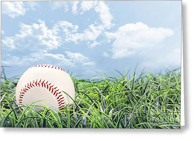 American Pastime Greeting Cards - Baseball in Grass Greeting Card by Stephanie Frey