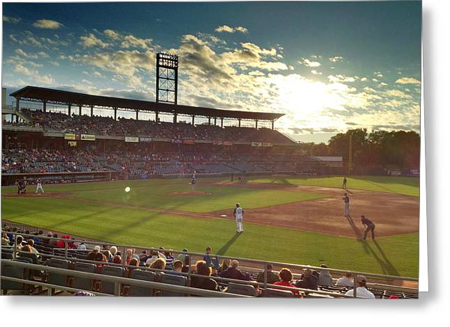 Recently Sold -  - Sunset Framed Prints Greeting Cards - Baseball In Rochester Greeting Card by Chris Zeigler