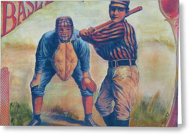 1901 Mixed Media Greeting Cards - Baseball Greeting Card by Judy Tolley
