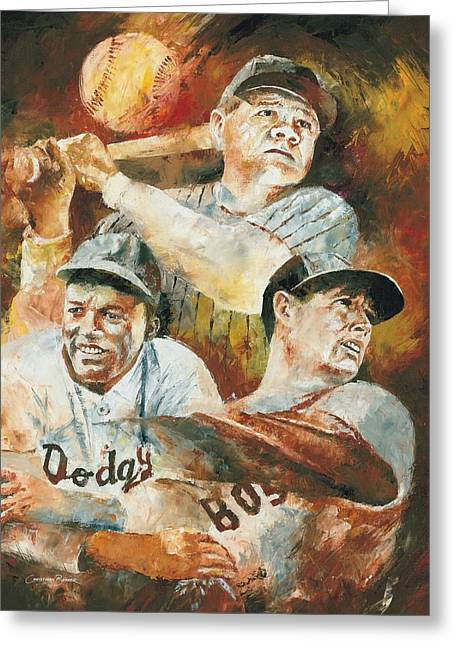 Babe Ruth World Series Greeting Cards - Baseball Legends Babe Ruth Jackie Robinson and Ted Williams Greeting Card by Christiaan Bekker