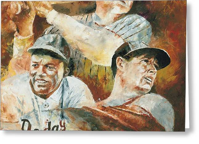 Baseball Legends Babe Ruth Jackie Robinson and Ted Williams Greeting Card by Christiaan Bekker