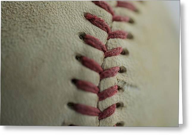 Boys Of Summer Greeting Cards - Baseball Macro Greeting Card by David Haskett
