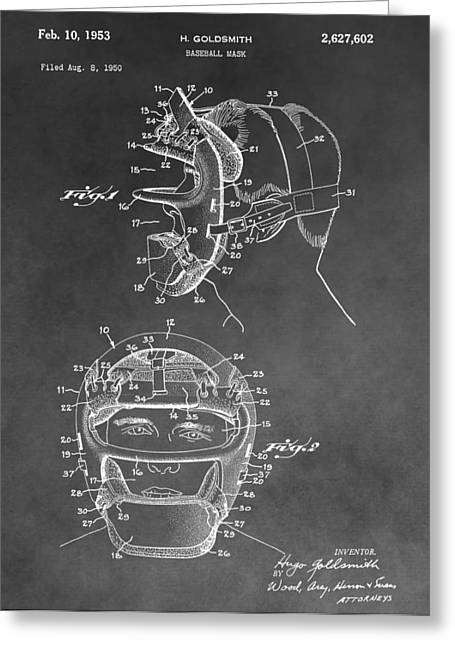 Vintage Catcher�s Mask Greeting Cards - Baseball Mask Patent Black And White Greeting Card by Dan Sproul