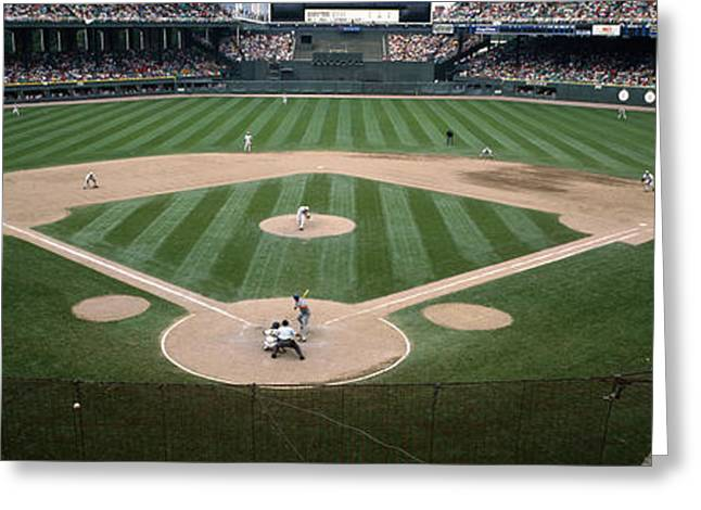 Baseball Stadiums Greeting Cards - Baseball Match In Progress, U.s Greeting Card by Panoramic Images