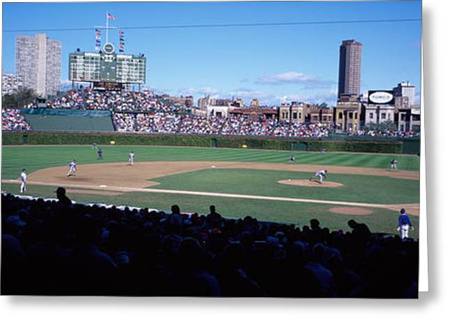Chicago Cubs Stadium Greeting Cards - Baseball Match In Progress, Wrigley Greeting Card by Panoramic Images