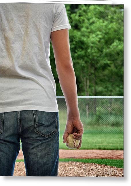 Caucasion Greeting Cards - Baseball Memories Greeting Card by Birgit Tyrrell