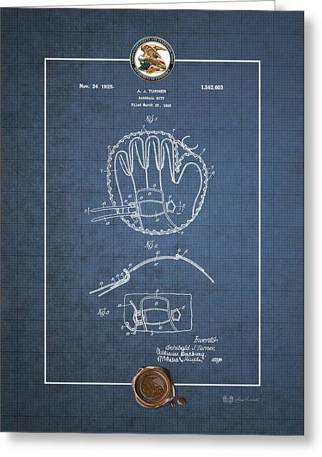 Baseball Equipment Greeting Cards - Baseball mitt by Archibald J. Turner - Vintage Patent Blueprint Greeting Card by Serge Averbukh