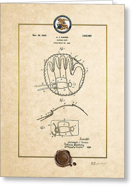 Baseball Equipment Greeting Cards - Baseball mitt by Archibald J. Turner - Vintage Patent Document Greeting Card by Serge Averbukh