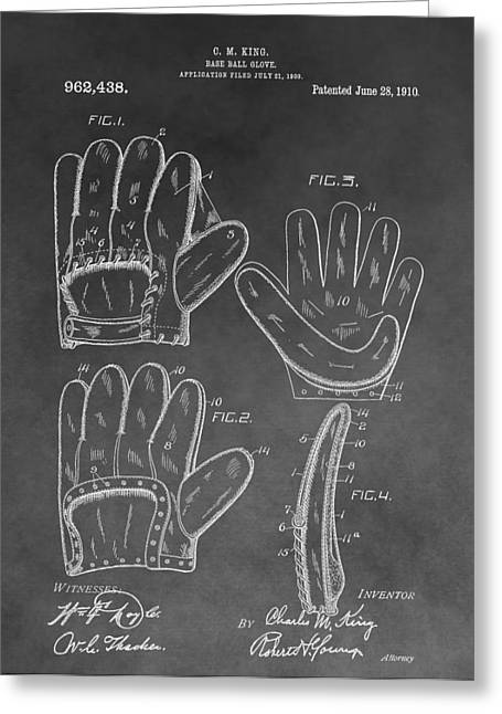 Old Pitcher Greeting Cards - Baseball Mitt Patent Greeting Card by Dan Sproul