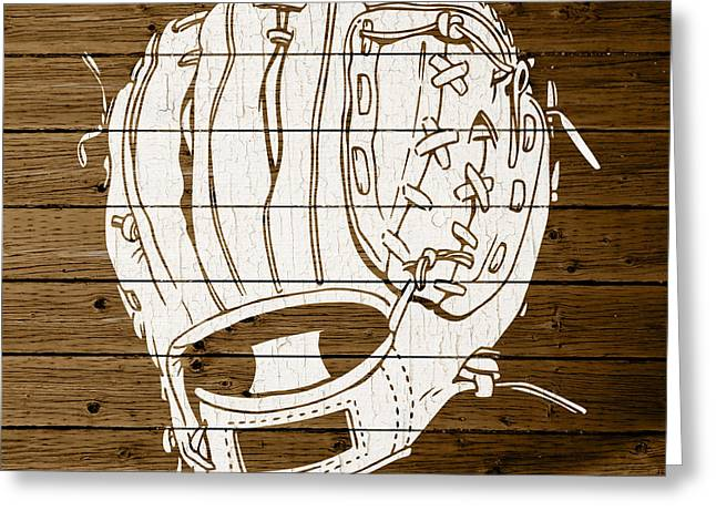 Baseball Glove Mixed Media Greeting Cards - Baseball Mitt Vintage Outline White Distressed Paint On Reclaimed Wood Planks Greeting Card by Design Turnpike