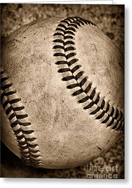 Baseball Art Greeting Cards - Baseball old and worn Greeting Card by Paul Ward