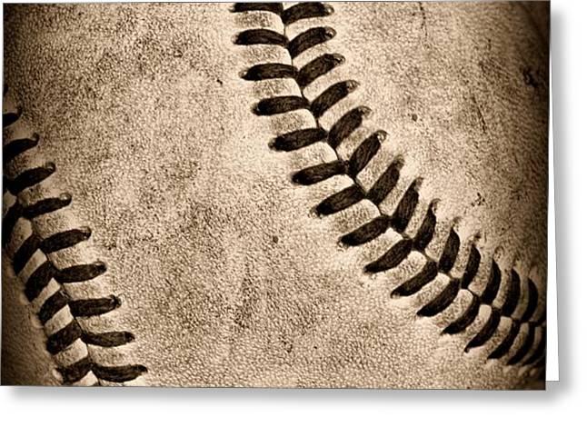 Baseball old and worn Greeting Card by Paul Ward