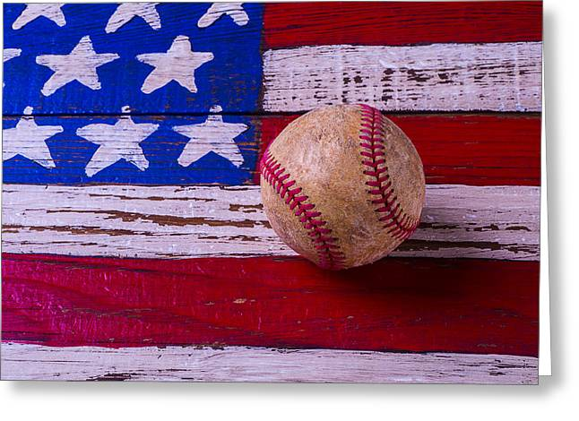 American Folk Art Greeting Cards - Baseball On American Flag Greeting Card by Garry Gay