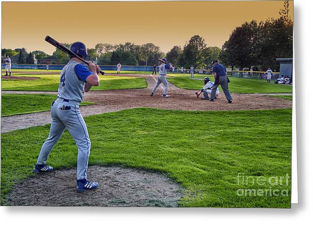 Softball Mitt Greeting Cards - Baseball On Deck Circle Greeting Card by Thomas Woolworth