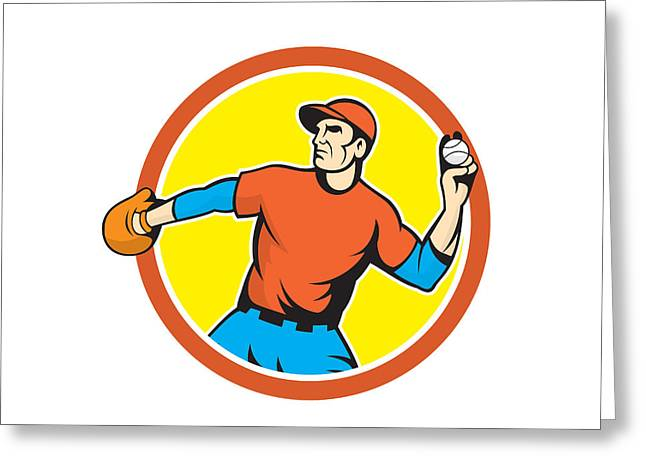 Baseball Glove Greeting Cards - Baseball Pitcher Outfielder Throwing Ball Cartoon Greeting Card by Aloysius Patrimonio