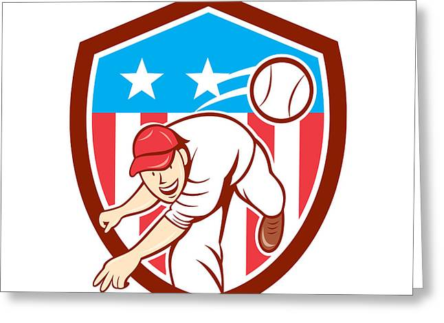 Baseball Glove Greeting Cards - Baseball Pitcher Outfielder Throwing Ball Shield Cartoon Greeting Card by Aloysius Patrimonio