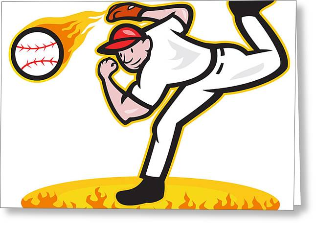 Baseball Pitcher Throwing Ball On Fire Greeting Card by Aloysius Patrimonio