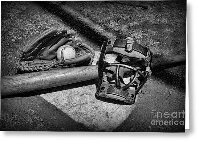 Baseball Bat Greeting Cards - Baseball Play Ball in black and white Greeting Card by Paul Ward
