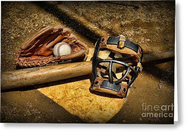 Baseball Bat Greeting Cards - Baseball Play Ball Greeting Card by Paul Ward
