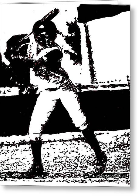 Little League Drawings Greeting Cards - Baseball Player at Bat Greeting Card by Rob Monte